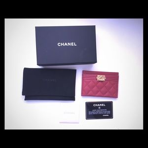 Authentic Chanel card holder boy caviar wallet red